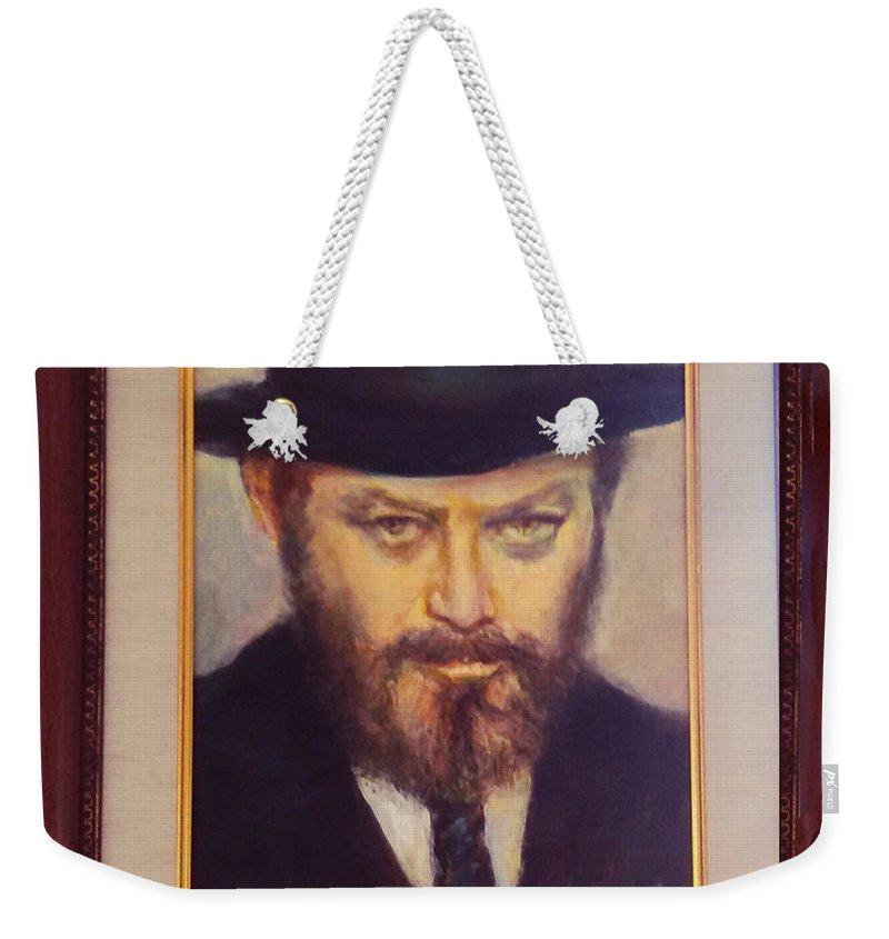 Portrait Weekender Tote Bag featuring the painting Lubavitcher Rebbe by Sylva Zalmanson