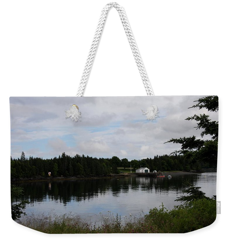 Boat Weekender Tote Bag featuring the photograph Lubec Channel Scenic View by Christiane Schulze Art And Photography