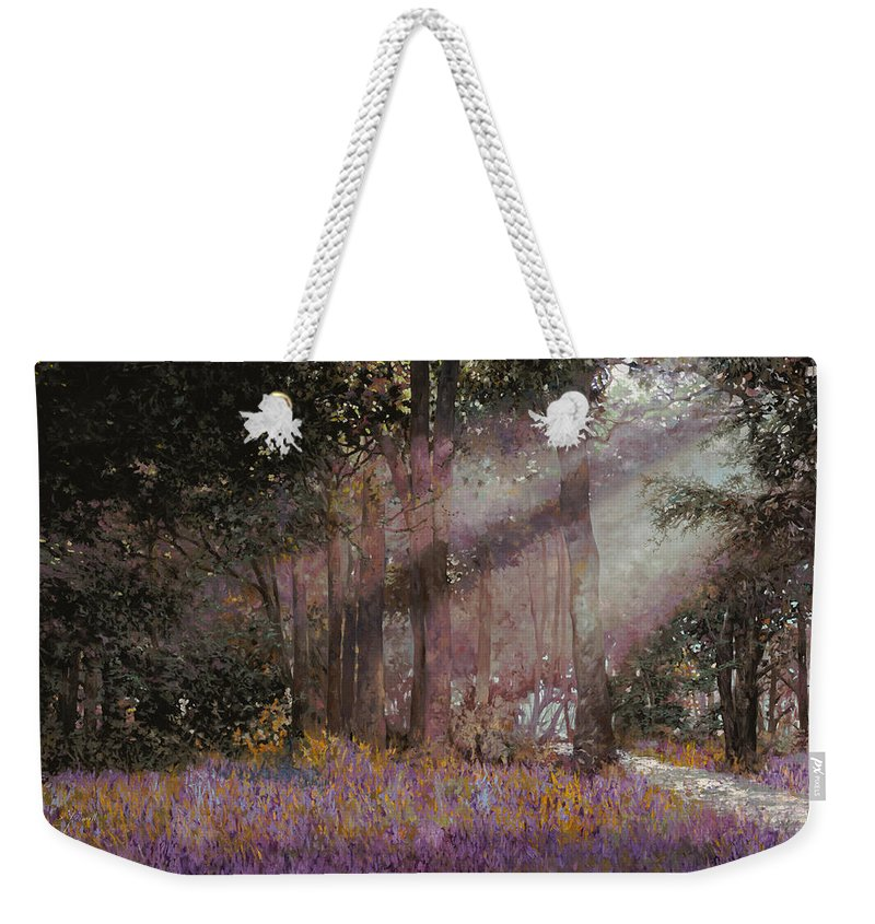 Wood Weekender Tote Bag featuring the painting Luci by Guido Borelli