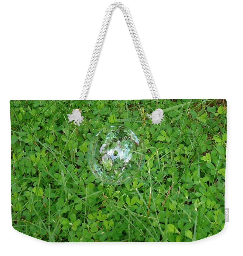 Shamrocks Weekender Tote Bag featuring the photograph Lucky Bubble by Jannice Walker