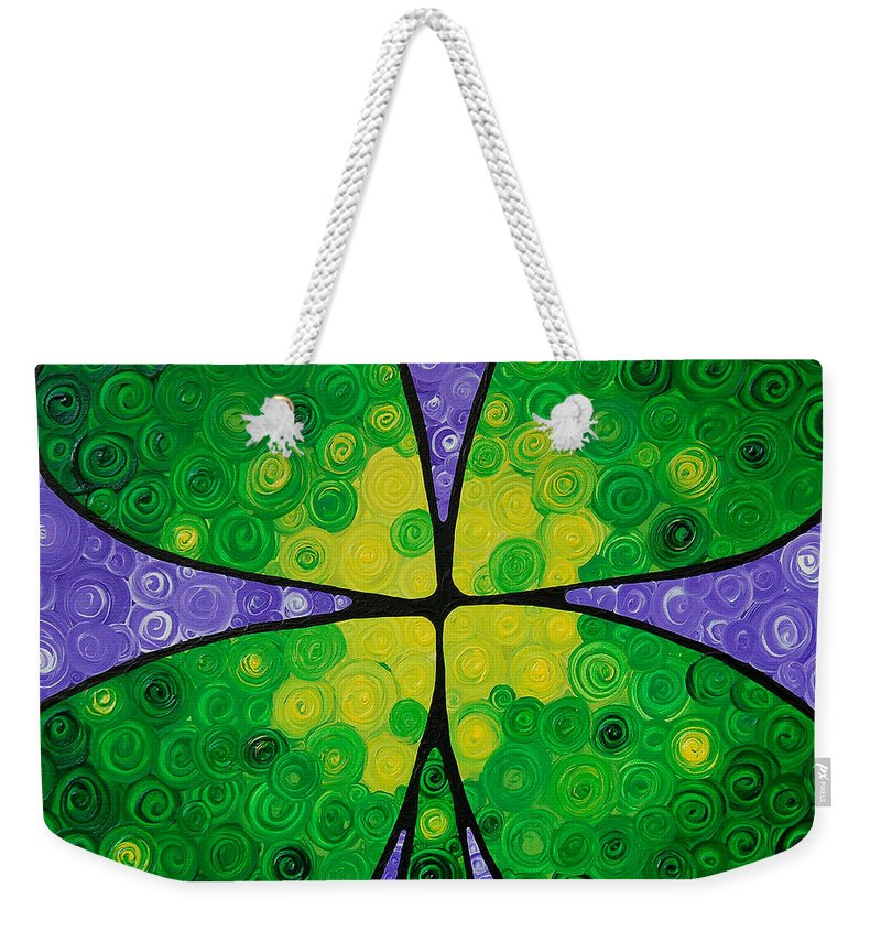 Shamrock Weekender Tote Bag featuring the painting Lucky One by Sharon Cummings