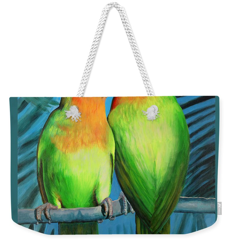 Wildlife Weekender Tote Bag featuring the painting Luckybird by Peter Bonk