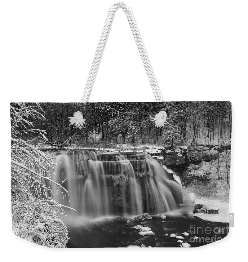 Michele Weekender Tote Bag featuring the photograph Ludlowville Falls In Winter I by Michele Steffey