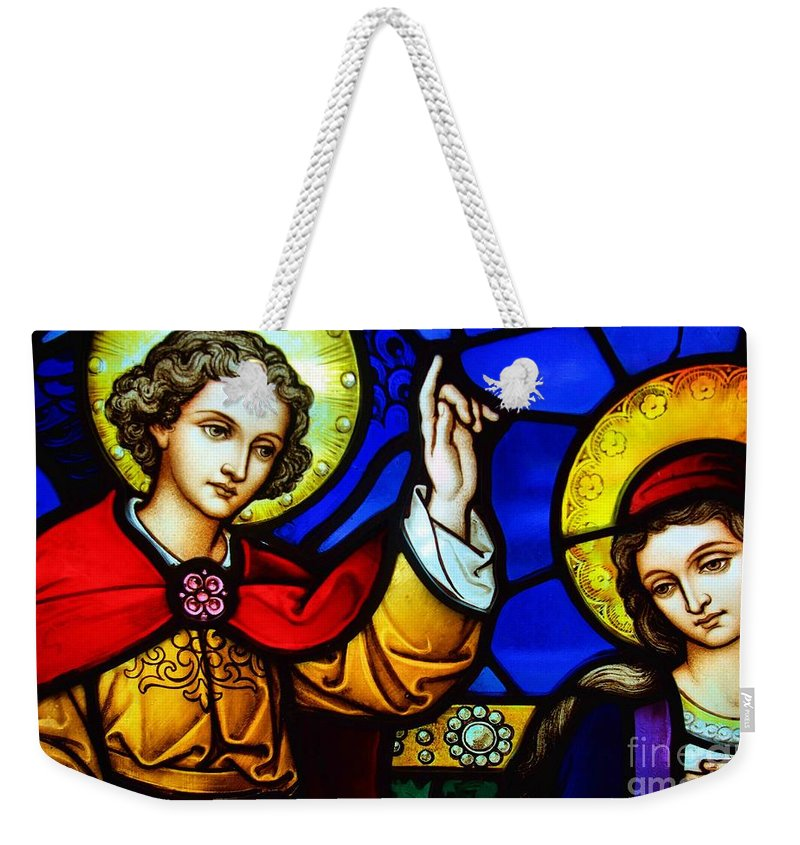 Stained Glass Weekender Tote Bag featuring the photograph Luke 1 Verse 30 To 33 by John S