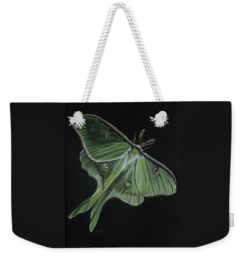 Moth Weekender Tote Bag featuring the painting Luna by Barbara Keith