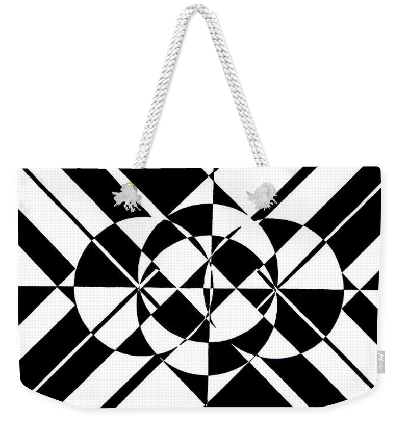 Abstract Weekender Tote Bag featuring the painting Lunar City by Crystal Hubbard