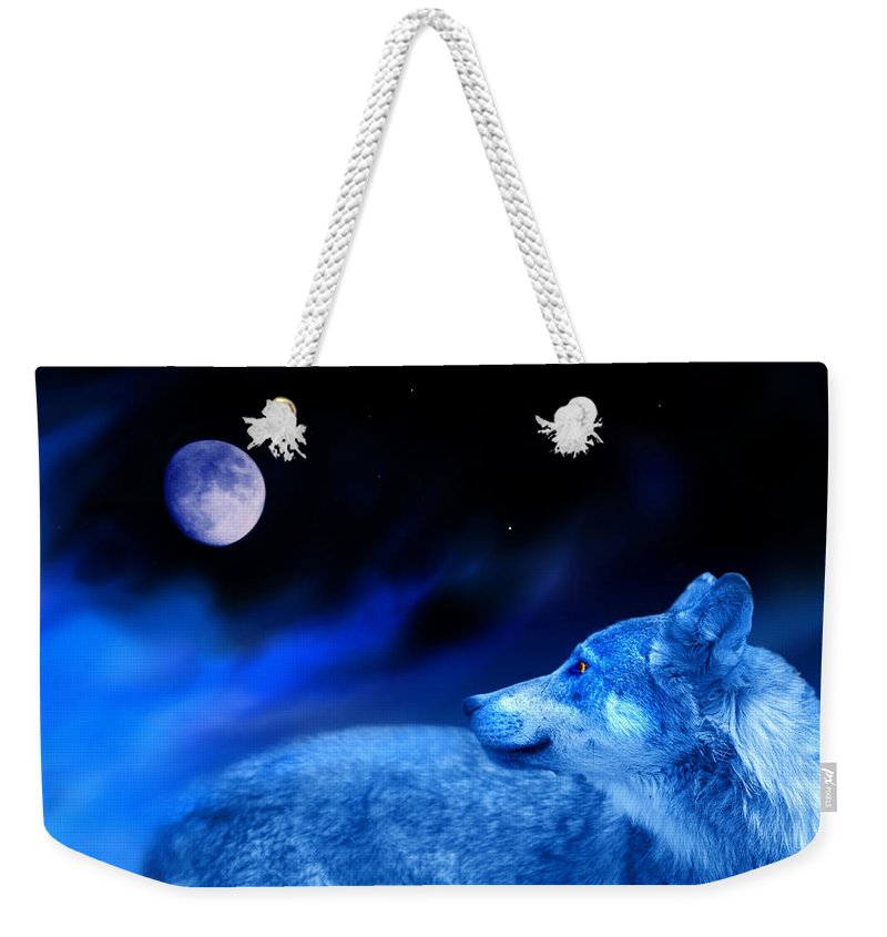 Wolf Weekender Tote Bag featuring the photograph Lunar Wolf 2 by Mal Bray