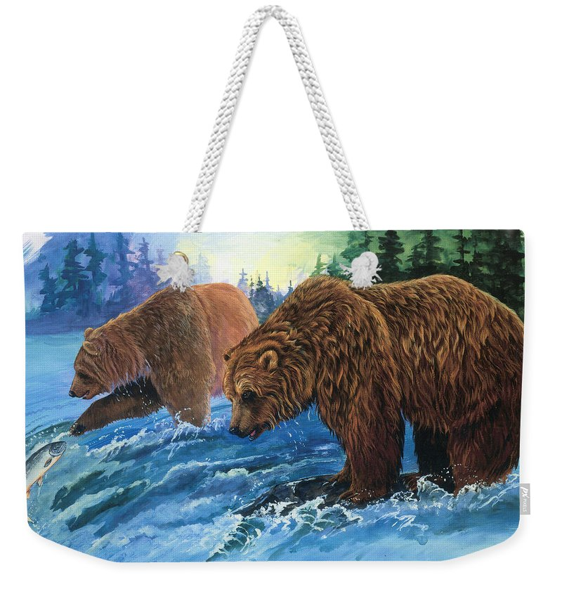 Grizzly Bear Weekender Tote Bag featuring the painting Lunch Break by Sherry Shipley