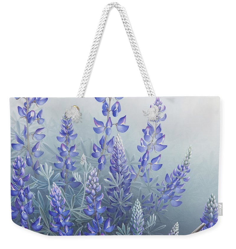 Bird Weekender Tote Bag featuring the painting Lupine by Mike Stinnett