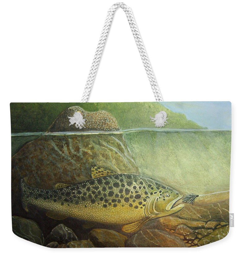 Rick Huotari Weekender Tote Bag featuring the painting Lurking by Rick Huotari