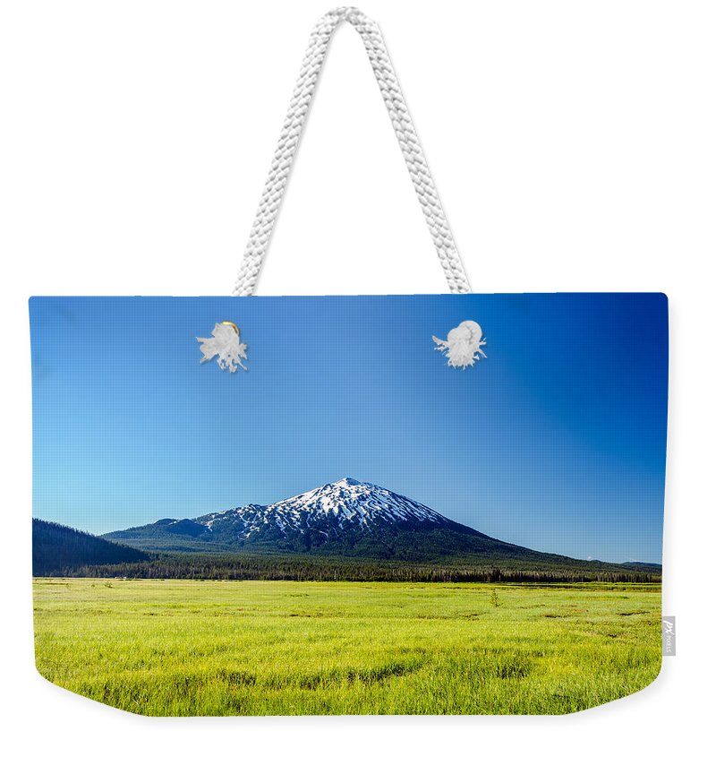 Mountain Weekender Tote Bag featuring the photograph Lush Green Meadow And Mount Bachelor by Jess Kraft