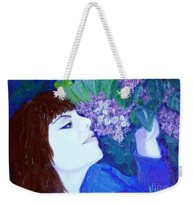 Lilacs Weekender Tote Bag featuring the painting Lush Lilacs by Laurie Morgan
