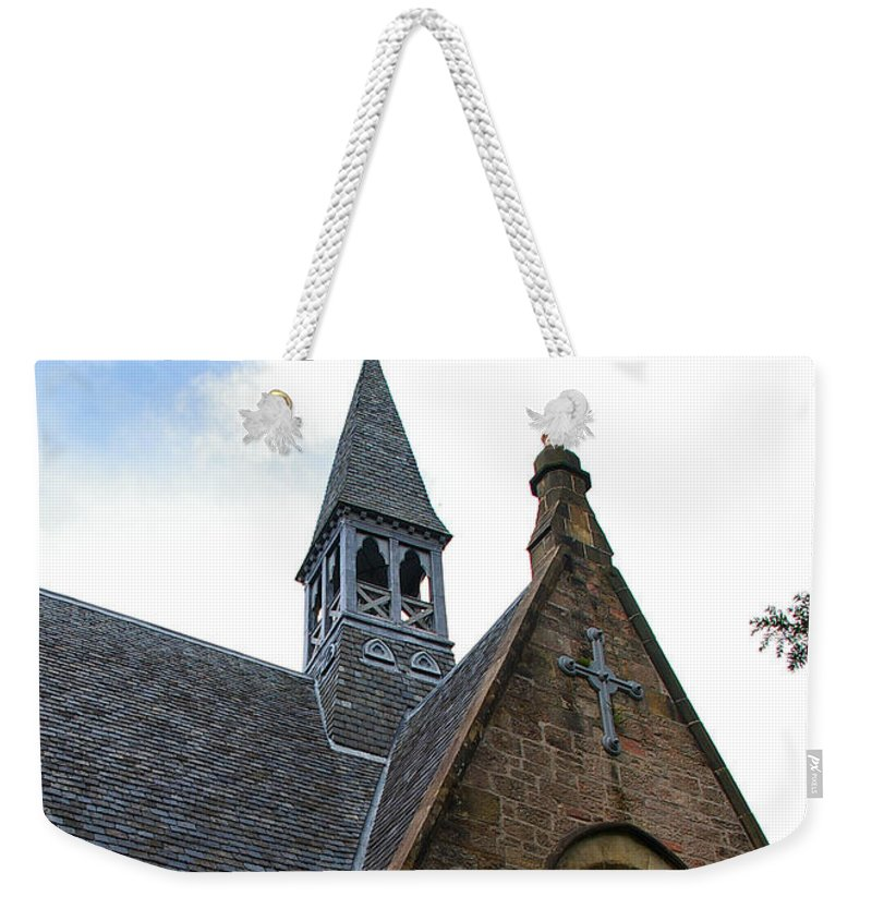 Church Weekender Tote Bag featuring the photograph Luss Church Steeple by Nancy L Marshall