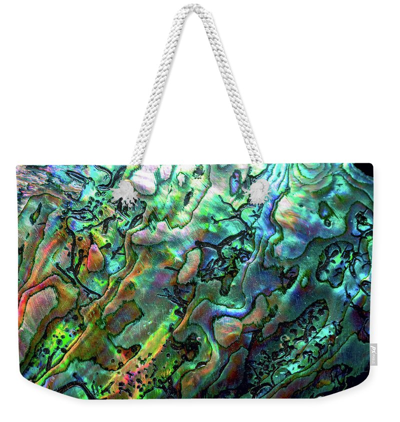 Mollusk Weekender Tote Bag featuring the photograph Luxury Background Of Blue Abalone Pearl by Elen11