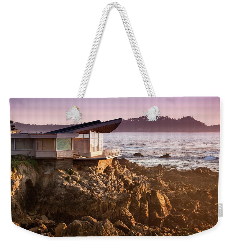 Water's Edge Weekender Tote Bag featuring the photograph Luxury Home Overlooks The Big Sur by Pgiam