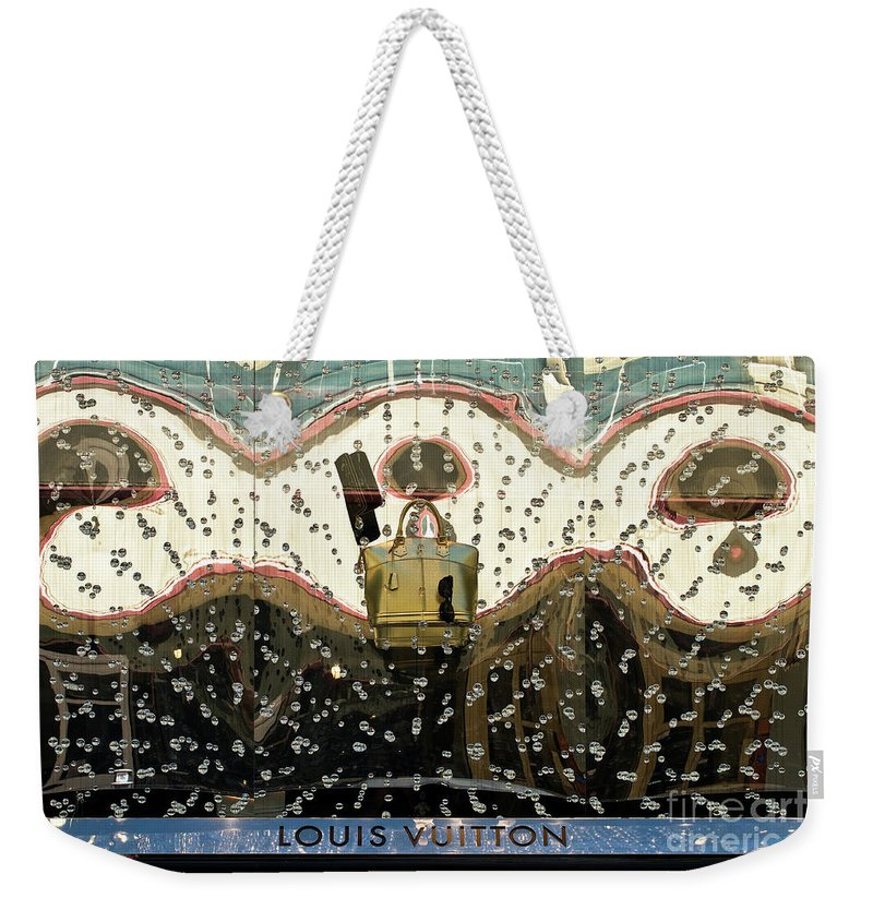Louis Vuitton Weekender Tote Bag featuring the photograph Lv Gold Bag 01 by Rick Piper Photography