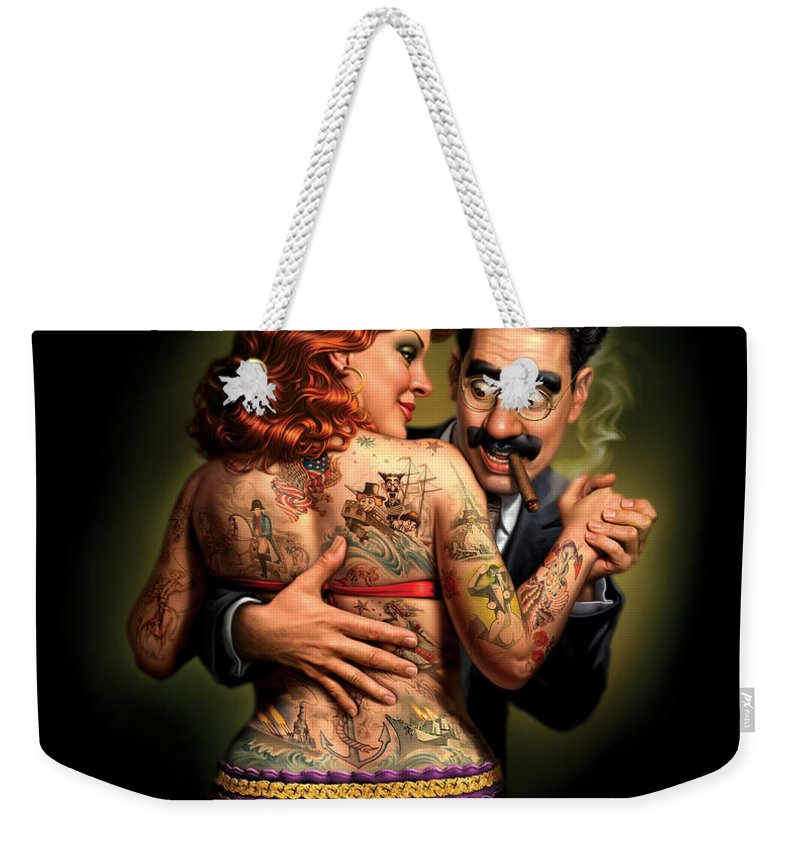 Tattoos Weekender Tote Bag featuring the painting Lydia The Tattooed Lady by Mark Fredrickson
