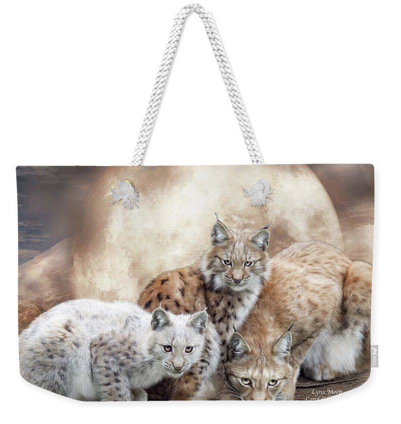 Lynx Weekender Tote Bag featuring the mixed media Lynx Moon by Carol Cavalaris