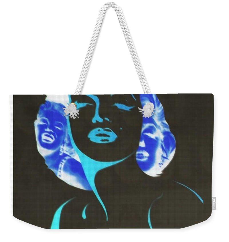 Marilyn Monroe Weekender Tote Bag featuring the photograph M M I N N E G A T I V E O R I G I N A L by Rob Hans