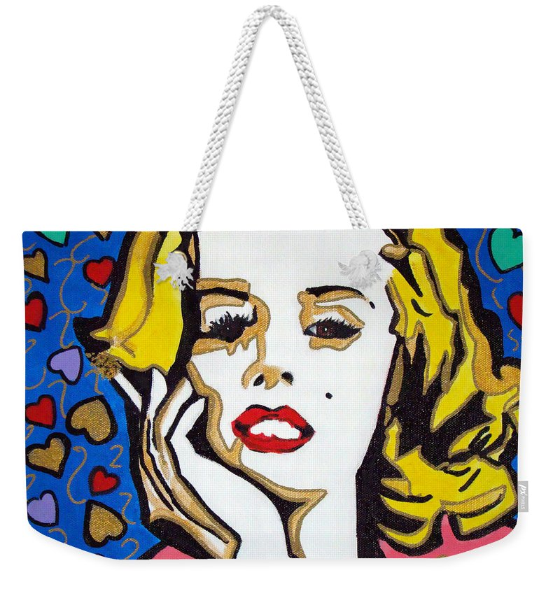 Pop-art Weekender Tote Bag featuring the painting M M by Silvana Abel