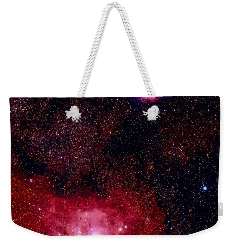 New Mexico Weekender Tote Bag featuring the photograph M8 The Lagoon Nebula And M20 The Trifid by A. V. Ley