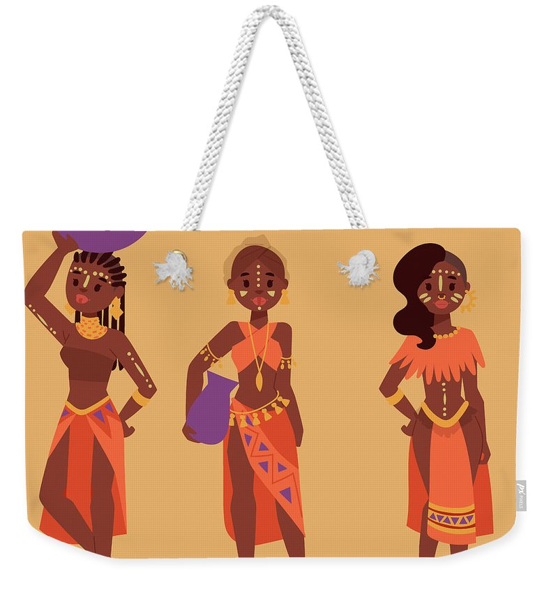 Kenya Weekender Tote Bag featuring the digital art Maasai African People In Traditional by Vectormoon