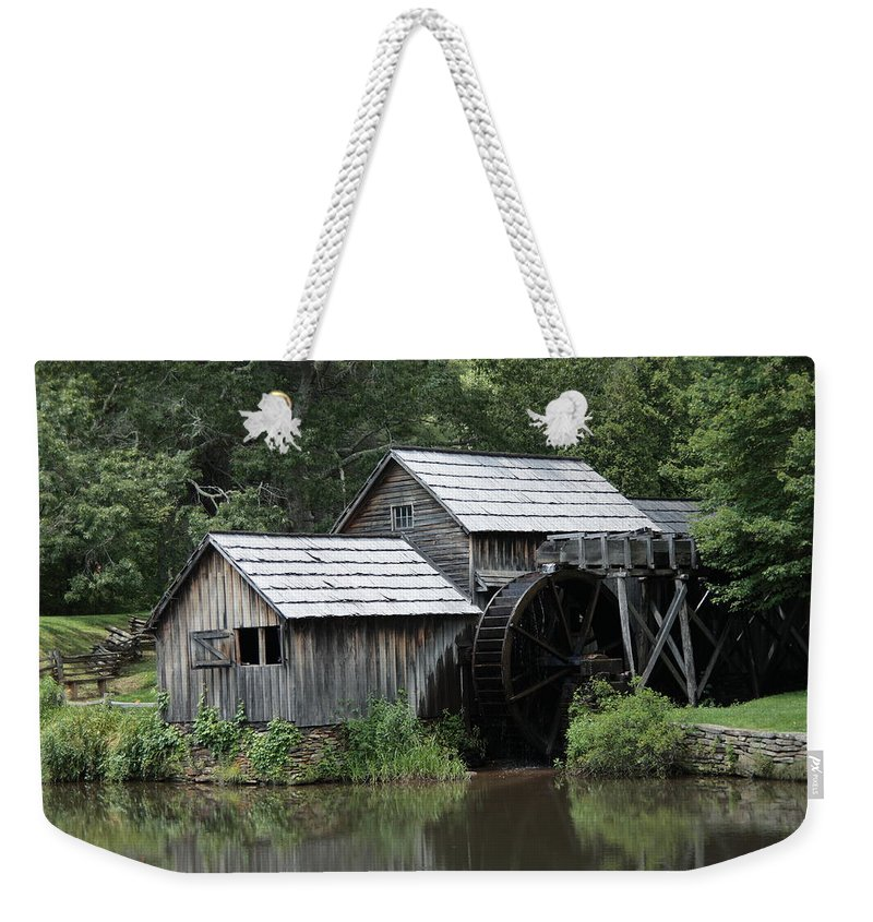 America Weekender Tote Bag featuring the photograph Mabry Mill - Blue Ridge Mountains by Frank Romeo