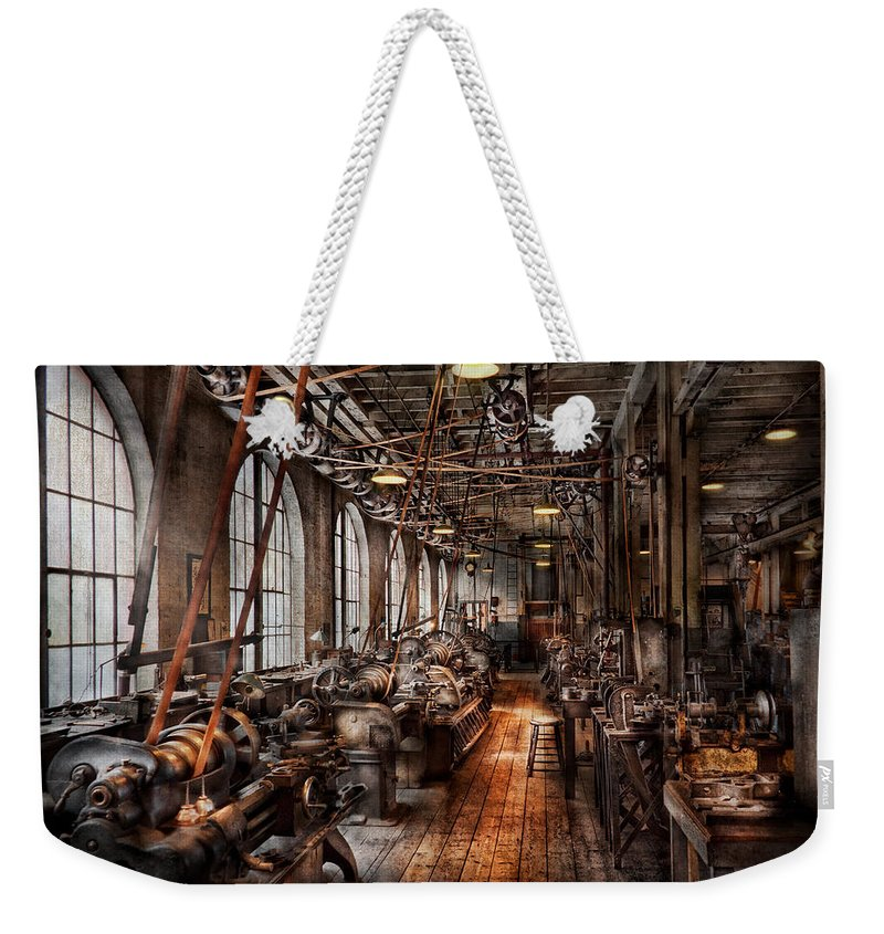 Machinist Weekender Tote Bag featuring the photograph Machinist - A Fully Functioning Machine Shop by Mike Savad