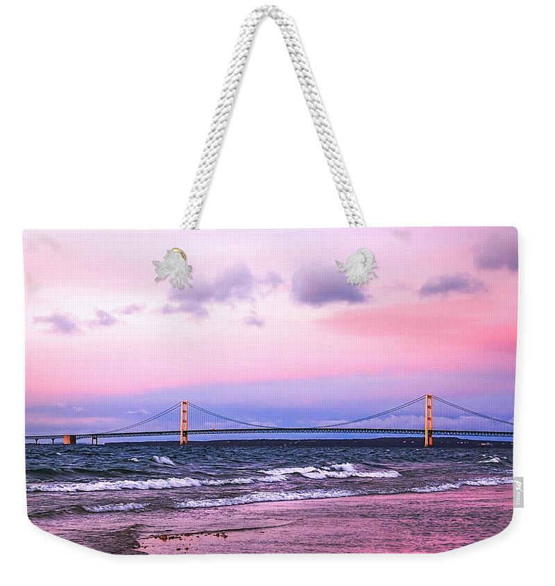 Mackinac Weekender Tote Bag featuring the photograph Mackinac Bridge At Sunset by LeeAnn McLaneGoetz McLaneGoetzStudioLLCcom