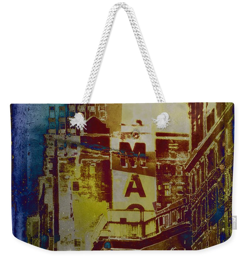 Painterly Photograph Weekender Tote Bag featuring the photograph Macys Three - Neo-grundge - Famous Buildings And Landmarks Of New York City by Miriam Danar