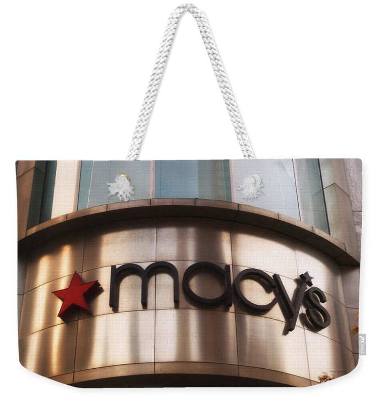 Chicago Weekender Tote Bag featuring the photograph Macys Signage by Thomas Woolworth