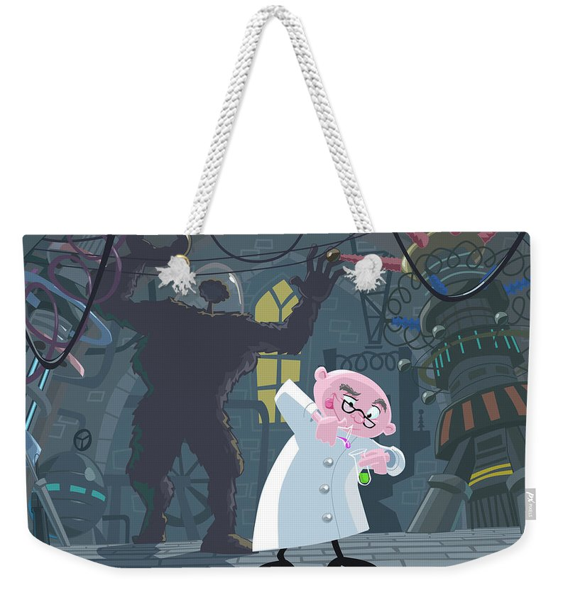 Professor Weekender Tote Bag featuring the painting Mad Professor Experiment by Martin Davey