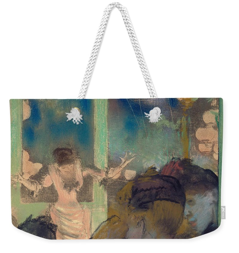 Mademoiselle Becat At The Cafe Des Ambassadeurs Weekender Tote Bag featuring the painting Mademoiselle Becat At The Cafe Des Ambassadeurs by Edgar Degas