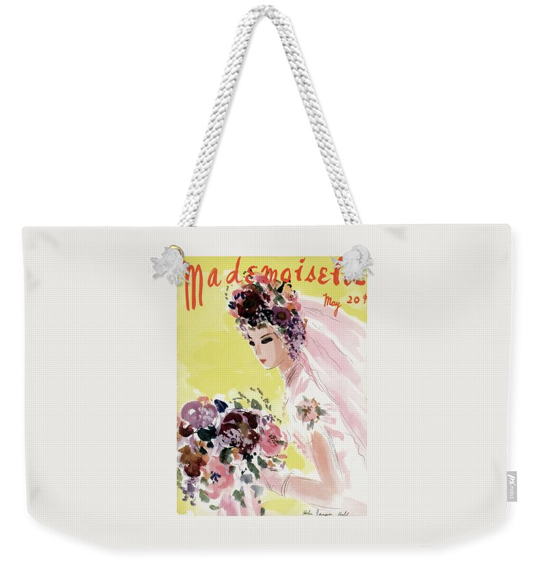 Illustration Weekender Tote Bag featuring the photograph Mademoiselle Cover Featuring A Bride by Helen Jameson Hall