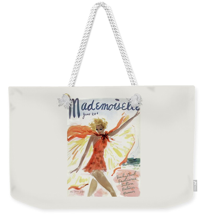 Illustration Weekender Tote Bag featuring the photograph Mademoiselle Cover Featuring A Model At The Beach by Helen Jameson Hall