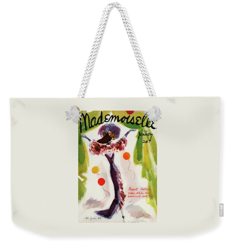 Illustration Weekender Tote Bag featuring the photograph Mademoiselle Cover Featuring A Model Wearing by Helen Jameson Hall