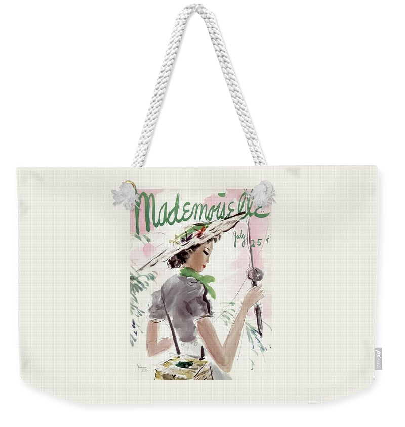 Illustration Weekender Tote Bag featuring the photograph Mademoiselle Cover Featuring A Woman Holding by Helen Jameson Hall