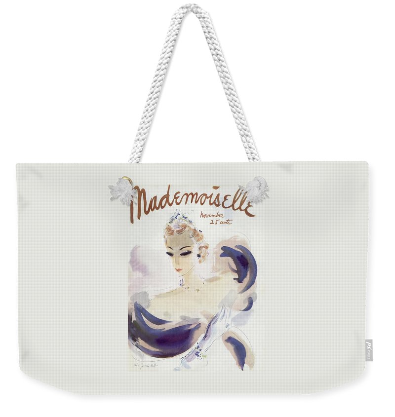 Fashion Weekender Tote Bag featuring the photograph Mademoiselle Cover Featuring A Woman In A Gown by Helen Jameson Hall