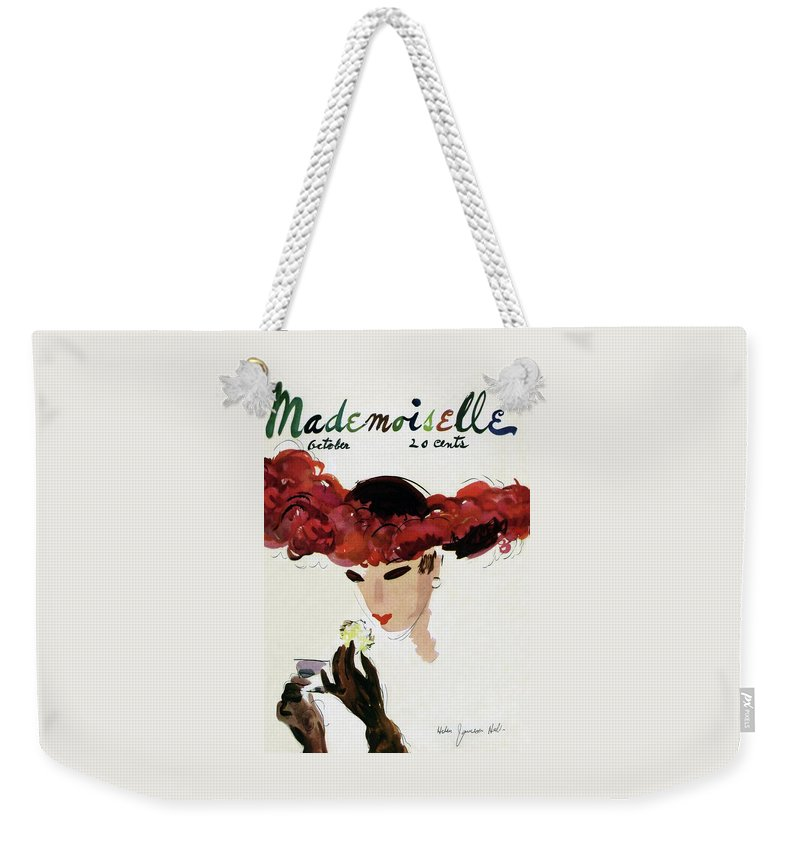 Illustration Weekender Tote Bag featuring the photograph Mademoiselle Cover Featuring A Woman In A Red by Helen Jameson Hall