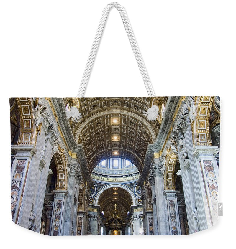 Madernos Nave Ceiling Weekender Tote Bag featuring the photograph Maderno's Nave Ceiling by Ellen Henneke