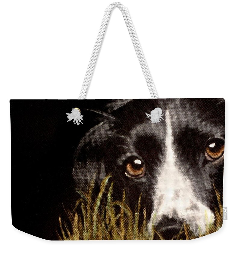 Border Collie Extreme Close Up Weekender Tote Bag featuring the painting Madge by Carol Russell
