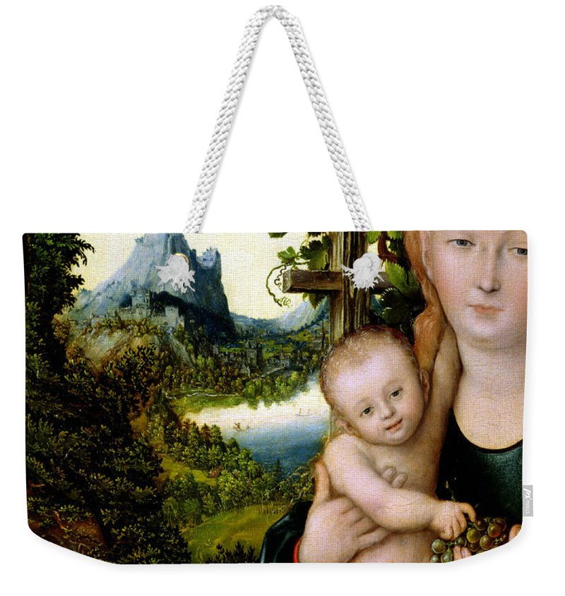 Virgin And Child Weekender Tote Bag featuring the painting Madonna And Child by Lucas the elder Cranach