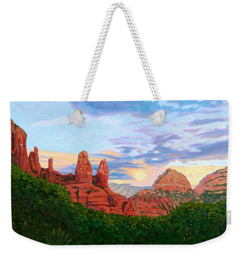 Madonna Weekender Tote Bag featuring the painting Madonna And Nuns - Sedona by Steve Simon