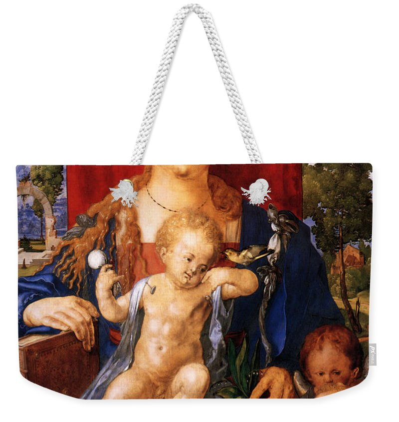Albrecht Durer Weekender Tote Bag featuring the digital art Madonna With The Siskin by Albrecht Durer