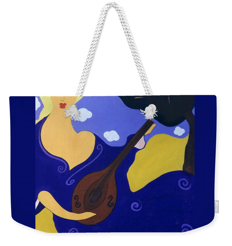 #mandolin Weekender Tote Bag featuring the painting Magdelinas Song by Jacquelinemari