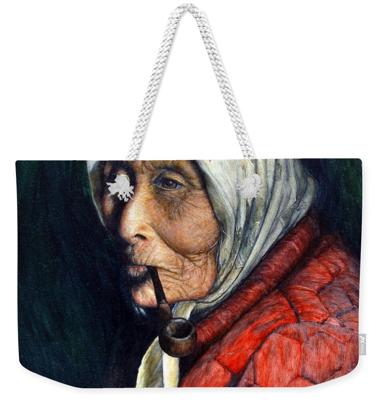 Native Weekender Tote Bag featuring the painting Maggie by Joey Nash