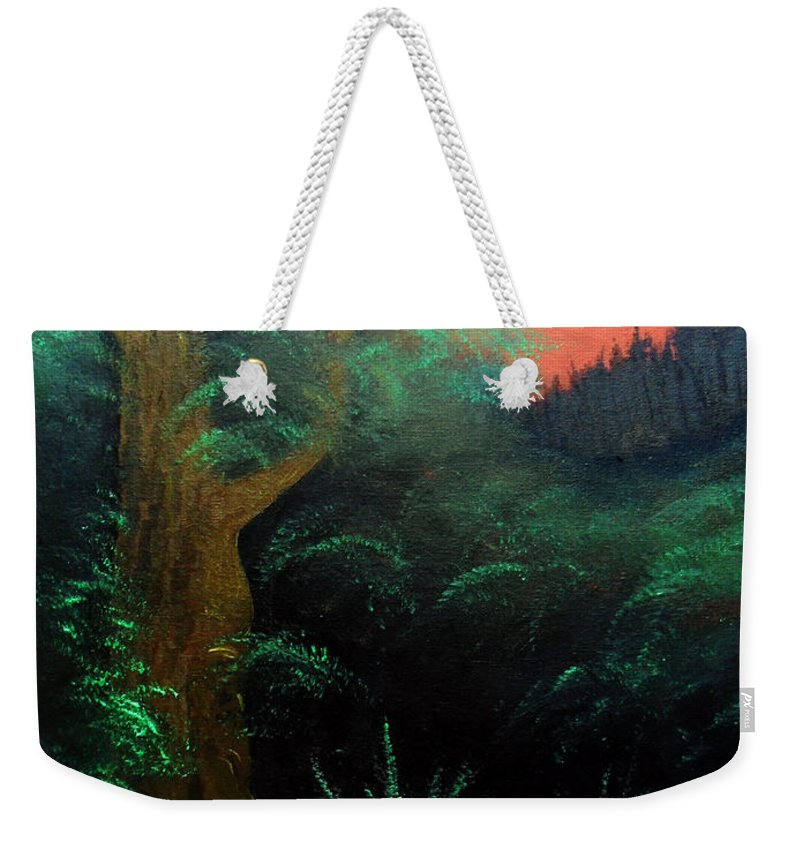 Landscape Weekender Tote Bag featuring the painting Magic forest by Sergey Bezhinets