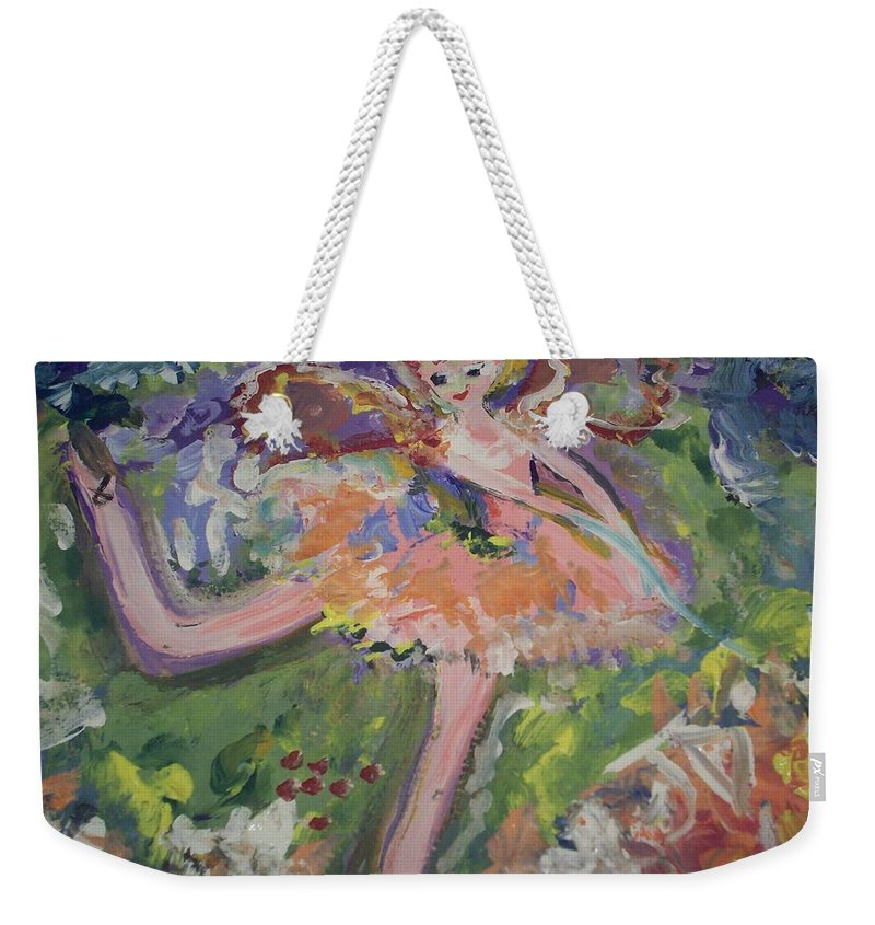 Magic Weekender Tote Bag featuring the painting Magical Maggie The Fairy by Judith Desrosiers