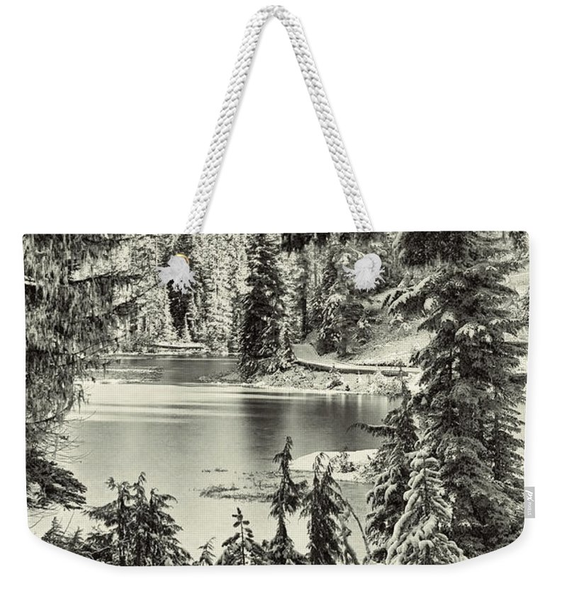 Nature Weekender Tote Bag featuring the photograph Magical Morning - Bw by Marilyn Wilson