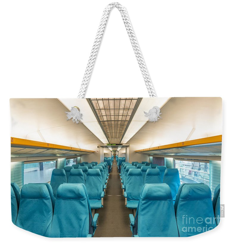 Asia Weekender Tote Bag featuring the photograph Maglev Train In Shanghai China by Jacek Malipan